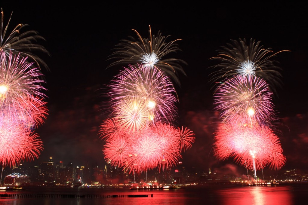 Fireworks over the Hudson River in New York City
