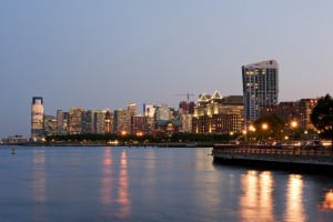 Jersey City NJ skyline at dusk