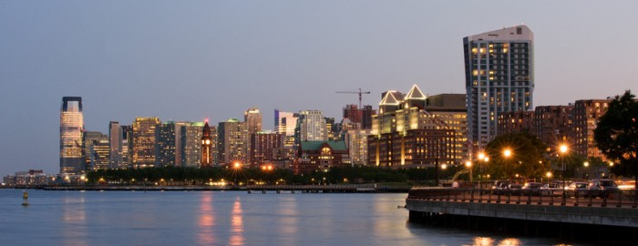 Jersey City skyline at dusk