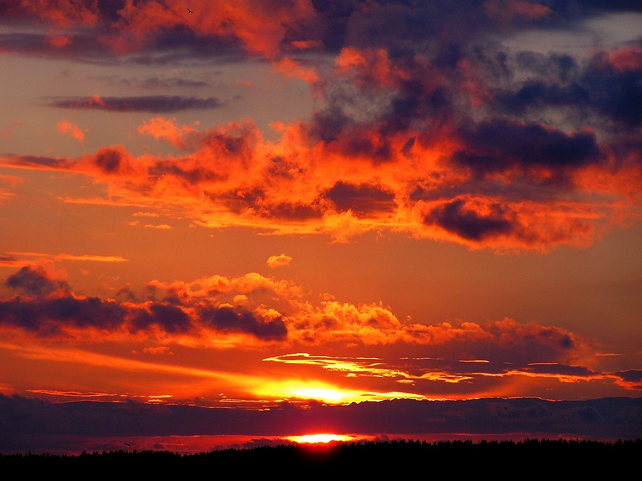 orange sky and clouds at sunset
