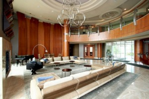 the modern lobby of The Watermark condominiums in North Bergen NJ