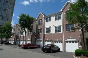 View of townhomes in Bulls Ferry in Guttenberg NJ.
