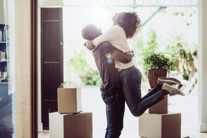 buyers in a suburban home
