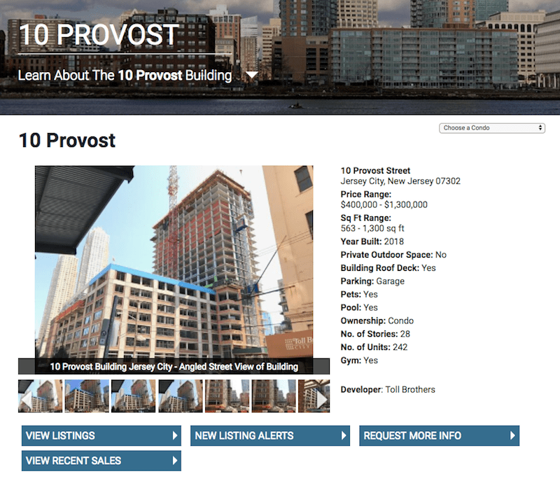 Screenshot of 10 Provost condo detail page with image gallery, quick building facts, and links to sold and active listings.