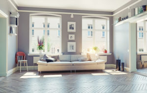 Spacious living room filled with light.