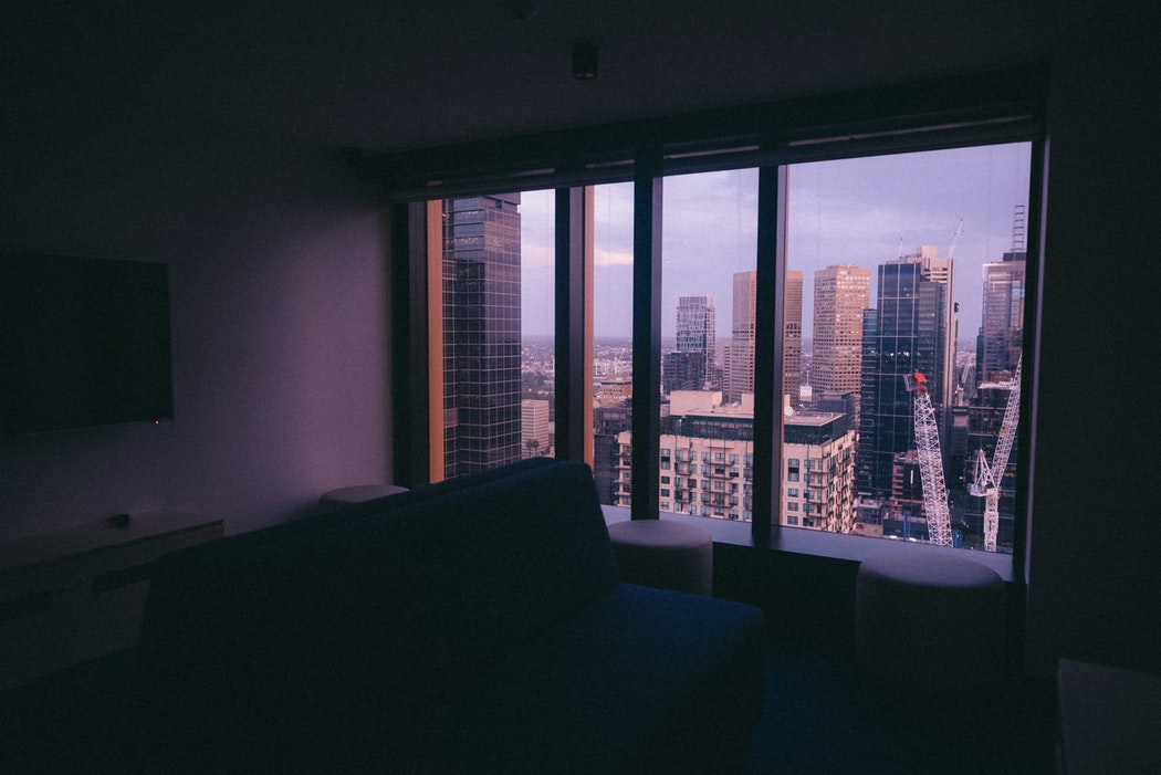 A condo with a city view.