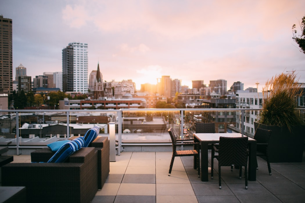 A rooftop lounge.