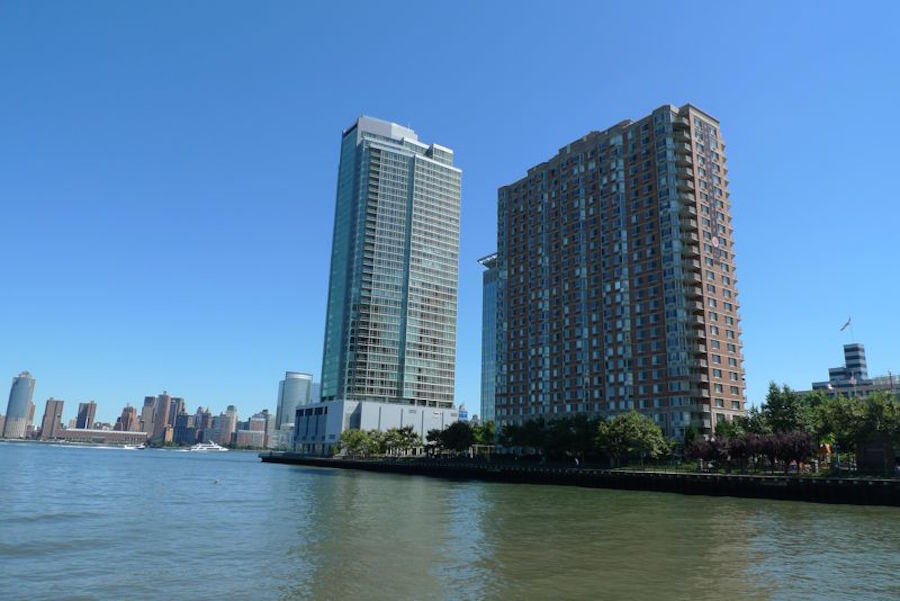 Exterior shot of Crystal Point, one of the Top Selling Hudson County Condos
